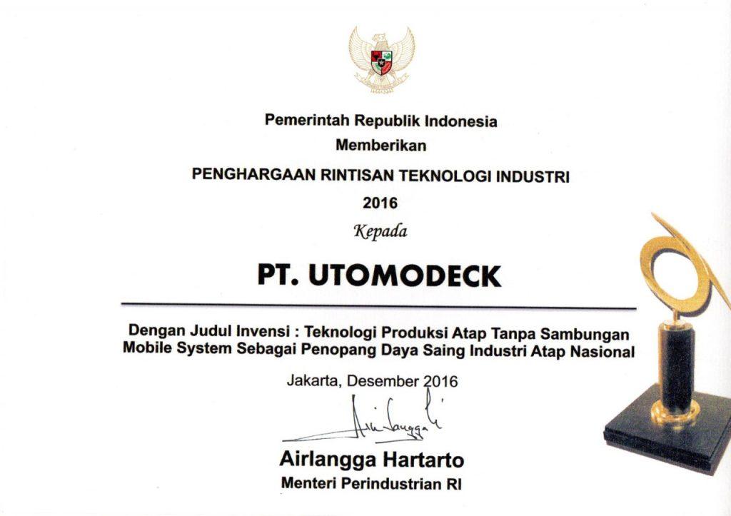 Penghargaan Rintisan Teknologi Industri 2016